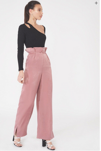 Satin Pleated Wideleg Trousers