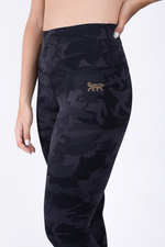 Load image into Gallery viewer, Black Camo High Waisted Legging