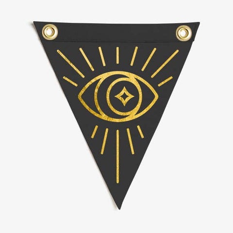 Gold Eye Mini Moon Flag Wall Hanging