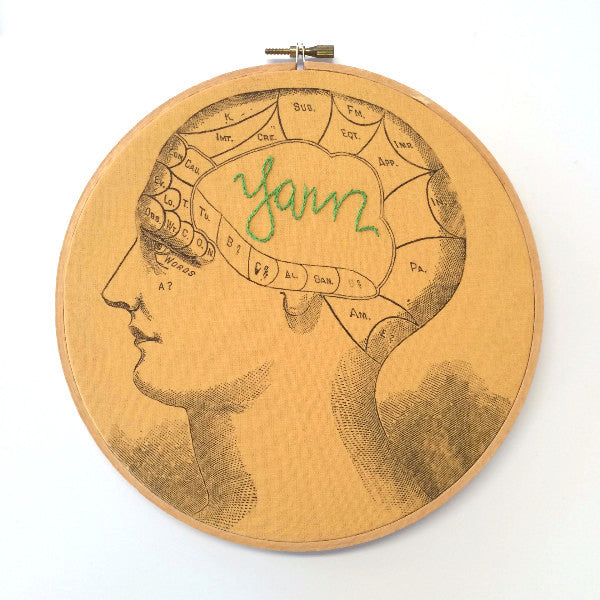 """Yarn"" Phrenology Hoop, Handmade Wall Art"