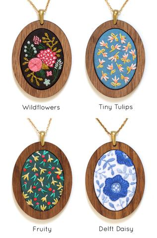 Embroidered Pendant Kits by Kiriki Press