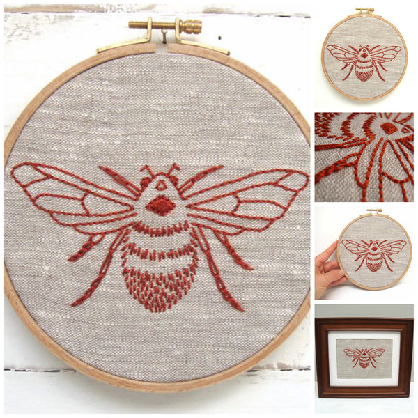 Bee Embroidery Kit by I Heart Stitch Art