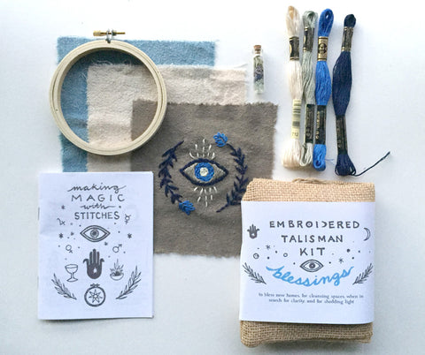 """Blessings"" Embroidered Talisman Kit by Christi Johnson"