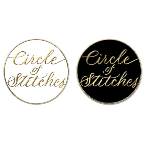 Circle of Stitches Enamel Pin - Black or White