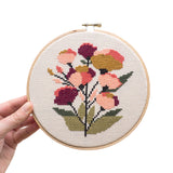 Coral Floral Cross Stitch Kit