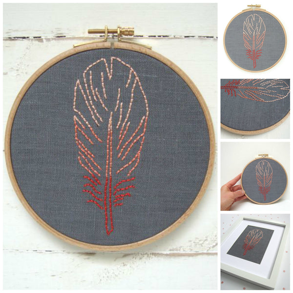 Coral Feather Embroidery Kit by I Heart Stitch Art