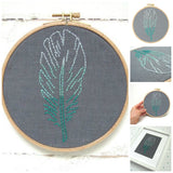 Teal Feather Embroidery Kit by I Heart Stitch Art