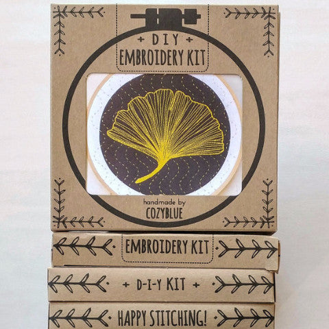Ginkgo - Cozyblue Handmade Embroidery Kit