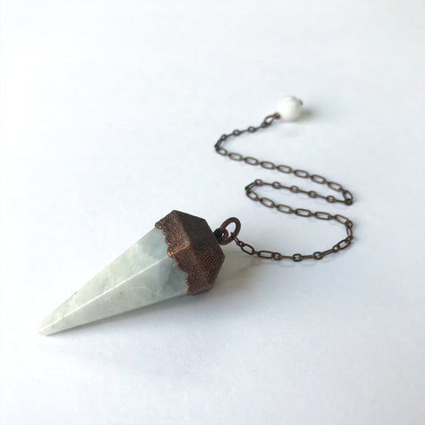 Rainbow Moonstone Electroform Copper Pendulum