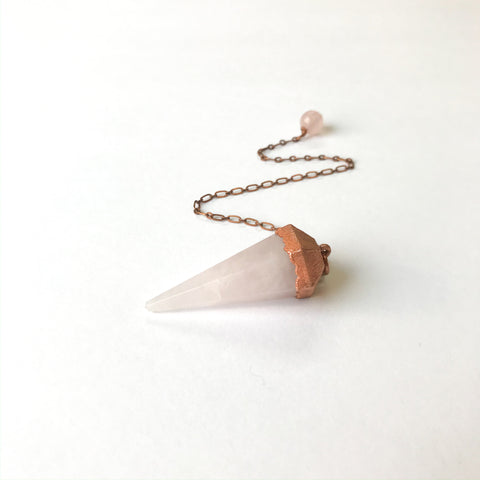 Rose Quartz Electroform Copper Pendulum