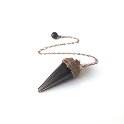 Smoky Quartz Electroform Copper Pendulum