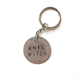 Knit Witch Hand-stamped Key Chain
