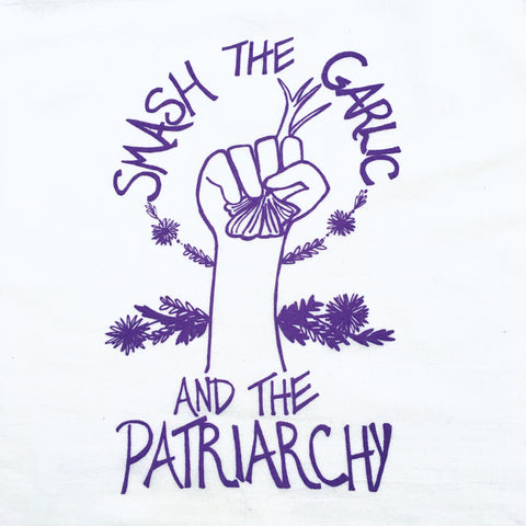 Smash the Garlic and the Patriarchy Tea Towel