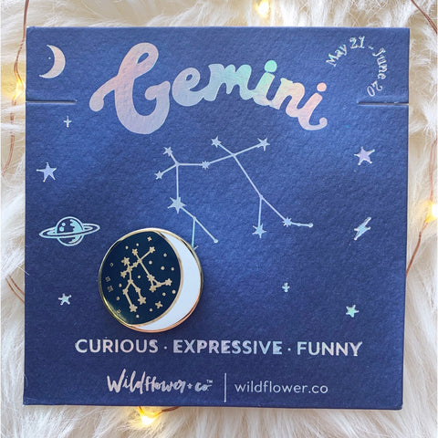 Constellation Zodiac Enamel Pin - Gemini