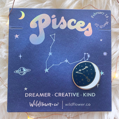 Constellation Zodiac Enamel Pin - Pisces