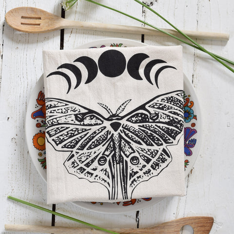 Organic Cotton Luna Moth Tea Towel (Black)