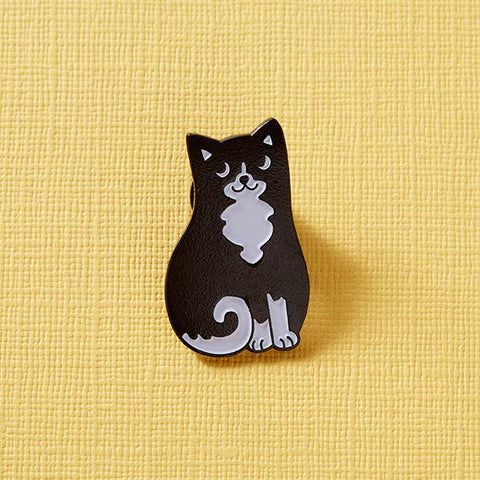 Black and White Cat Enamel Pin