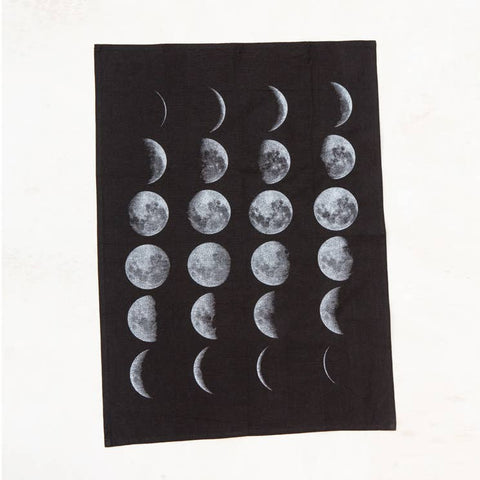 Black Moon Phases Kitchen Towel