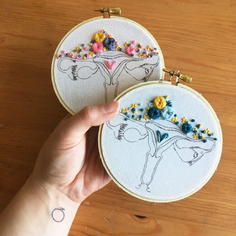 Lady Parts Embroidery Kits by The Comptoir - Pink, Blue, Duo