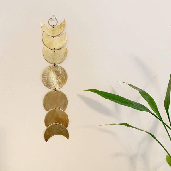 Moon Phase Brass Wall Hanging