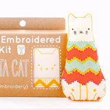Fiesta Cat Embroidery Doll Kit by Kiriki Press