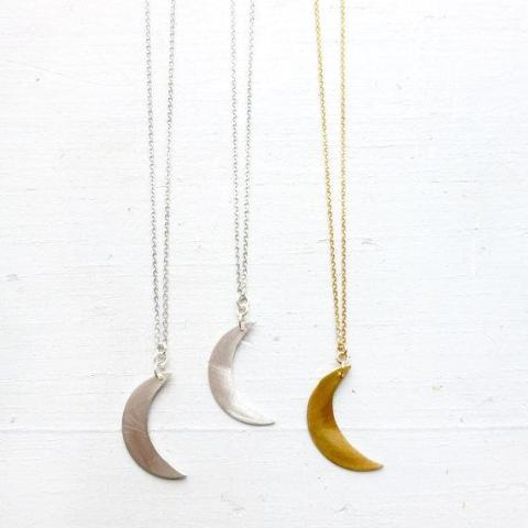 Crescent Moon Necklace - Brass or Silver