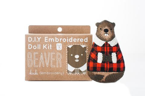 Beaver Embroidery Doll Kit by Kiriki Press