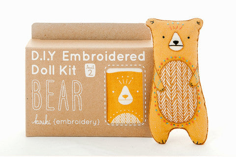 Bear Embroidery Doll Kit by Kiriki Press