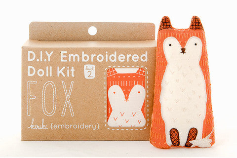 Fox Embroidery Doll Kit by Kiriki Press