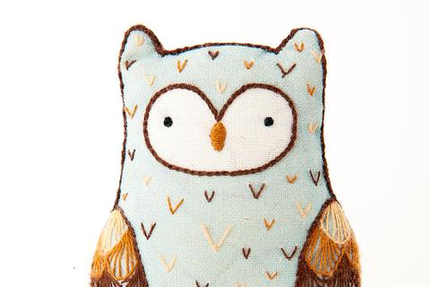 Horned Owl Embroidery Doll Kit by Kiriki Press