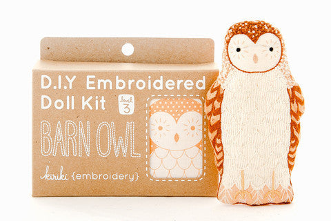 Barn Owl Embroidery Doll Kit by Kiriki Press