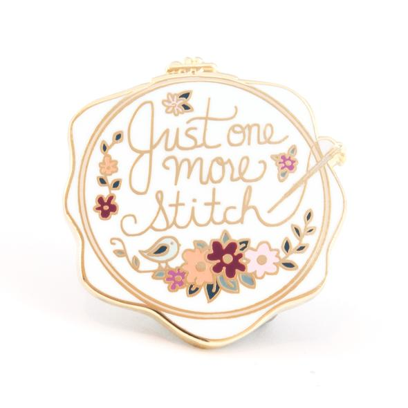 Just One More Stitch Embroidery Enamel Pin