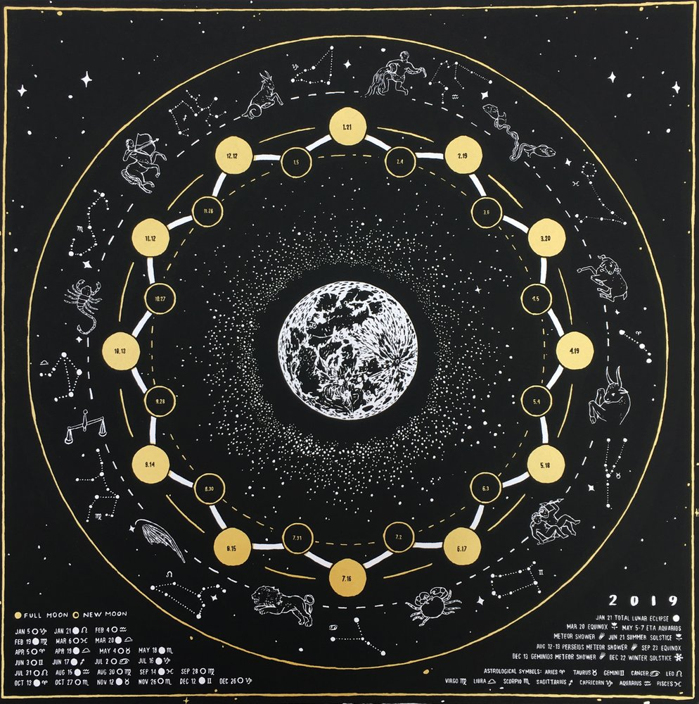 2019 Lunar Calendar - Screenprinted by Vanessa Adams
