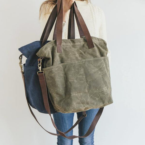 Waxed Canvas Cross Body Tote