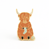 Sebastian the Scottish Highland Cow Knitting Enamel Pin