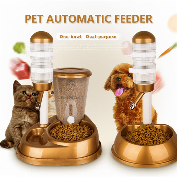 Dual-Use Pet Cat Dog Automatic Feeder with Water Fountain Large Capacity Food Bucket and Water Bottle Dispenser for Dog Cat