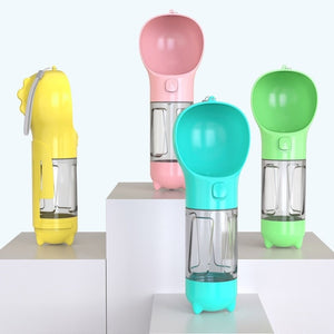 2020 New Pet Accessories Cute Dog Water Bottles with Poop Shovel Cat Water Dispenser Bowl Puppy Portable Dog Drinking Bottle