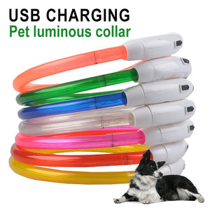 USB Luminous Pet Dog Light Collar Rechargeable Pet Collar Dog Necklace Safety Night Light Collar Cat Puppy Dog Accessories