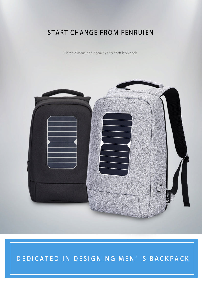USB Solar Powered Charge Backpack