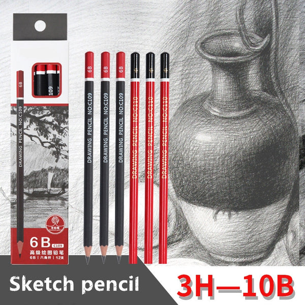 Sketch pencil HB 2B 3B 4B 5B 6B 8B 10B 2H 3H Soft medium hard carbon pen Office school drawing pencil