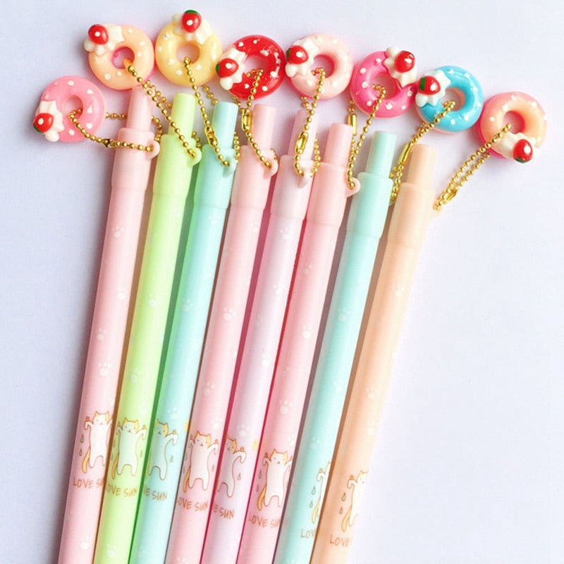 1pcs Doughnut Cat Mechanical Pencil Student Automatic Pen For Kid School Office Supply Escolar Papelaria Random Style