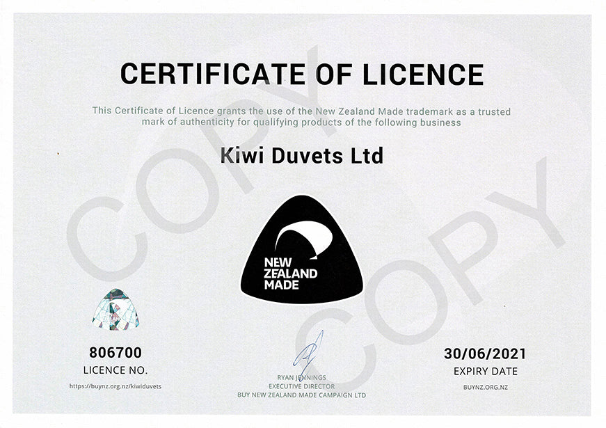 Kiwi Duvets Ltd Certificate Of Licence Buy NZ Made