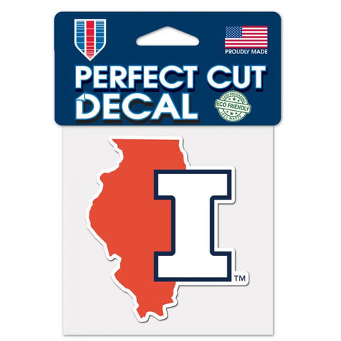 Illinois Fighting Illini State Wincraft Perfect Cut Decal 4x4