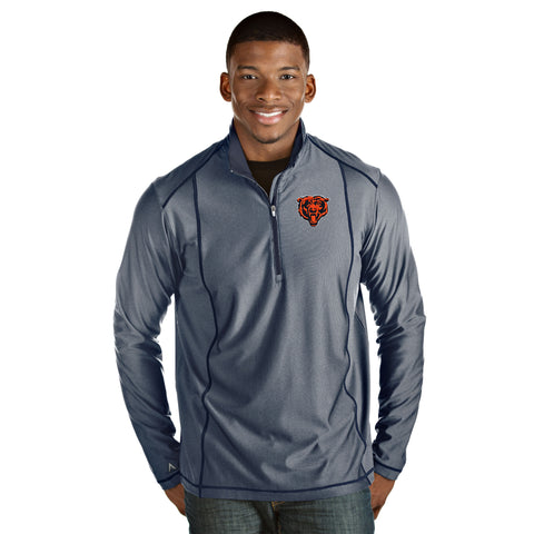 Chicago Bears Adult Light Mesh Blue Antigua NFL Quarter Zip