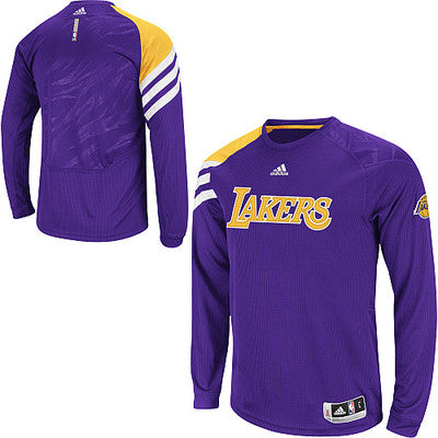 ce72c0b7544 Los Angeles Lakers Adidas Youth On Court Long Sleeve Pullover - Dino's  Sports Fan Shop