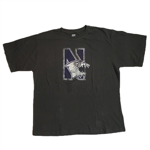 Northwestern Wildcats Genuine Stuff Charcoal Distressed Logo Shirt - Dino's Sports Fan Shop