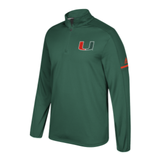 Miami Hurricanes Adidas L/S Adult 1/4 Zip
