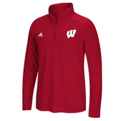 Wisconsin Badgers Adidas Red Ultimate 1/4 Zip Pullover - Dino's Sports Fan Shop