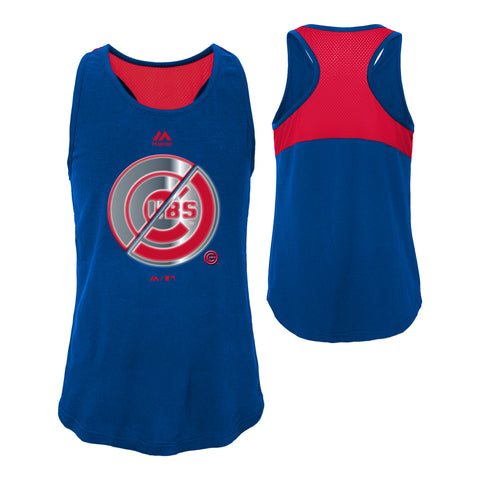 Chicago Cubs Majestic Logo Twist Girl's Tank Top