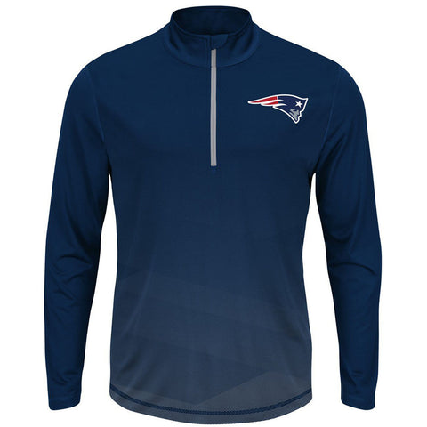 "New England Patriots Majestic Navy ""Intimidating"" Reflective 1/4-Zip - Dino's Sports Fan Shop"